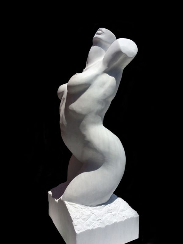 Greek Pentelic Marble #sculpture by #sculptor Sherry Tipton titled: 'Torso.II'. #SherryTipton