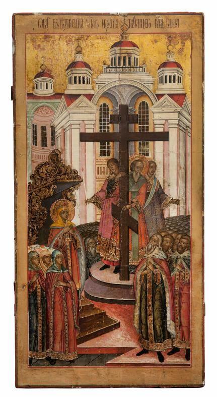 Icône: Exaltation de la Croix, Russie, XVIIIe.   Dimensions : H. 111.8x56.8x3.2 cm  C'est un exemple intéressant d'icône d'église. Il s'agit...