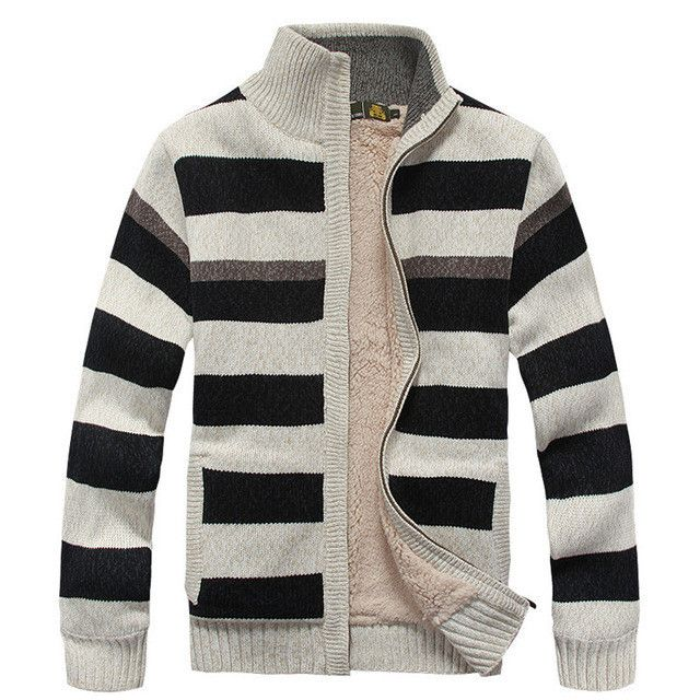 Winter Fleece Thicken Sweater Men 70% Wool Stripe Mens Wool Cardigan sweaters Brand size M -3XL