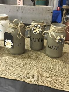 Set of 3 hand painted and stenciled mason jars *MADE TO ORDER, please note that each one will be different, each jar, bottle shape and effects can not be replicated. This product is one of a kind. Ple