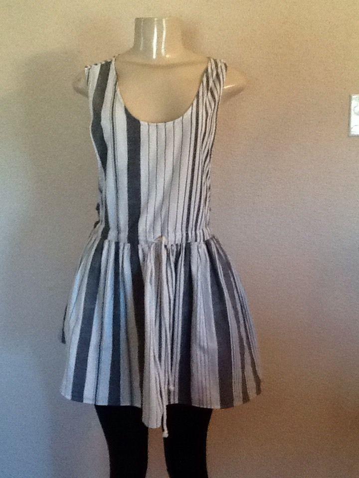 Vtg 90s Grunge Overalls Jumper Schoolgirl Pinafore Deep Armholes Mini Dress