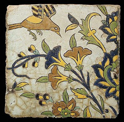 Tile | Origin: Iran, Isfahan | Period:  17th century | Collection: The Nasli M. Heeramaneck Collection, gift of Joan Palevsky (M.73.5.756) | Type: Ceramic; Architectural element, Fritware, cuerda seca technique, 9 3/16 x 9 5/16 in. (23.3 x 23.7 cm)