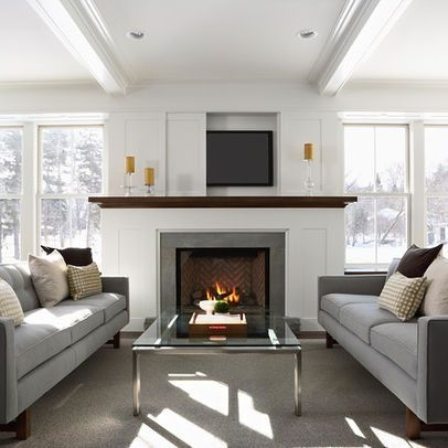 living rooms with fireplace and TV   Living Room TV above fireplace Design Ideas, Pictures, Remodel and ...