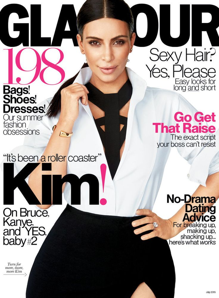 Kim Kardashian wearing a Donna Karan New York shirt and skirt, Vionnet underpinning, Sophie Bille Brahe earrings, and Maison Margiela Line 12 Fine Jewelry Collection bracelet on the cover of Glamour Magazine.