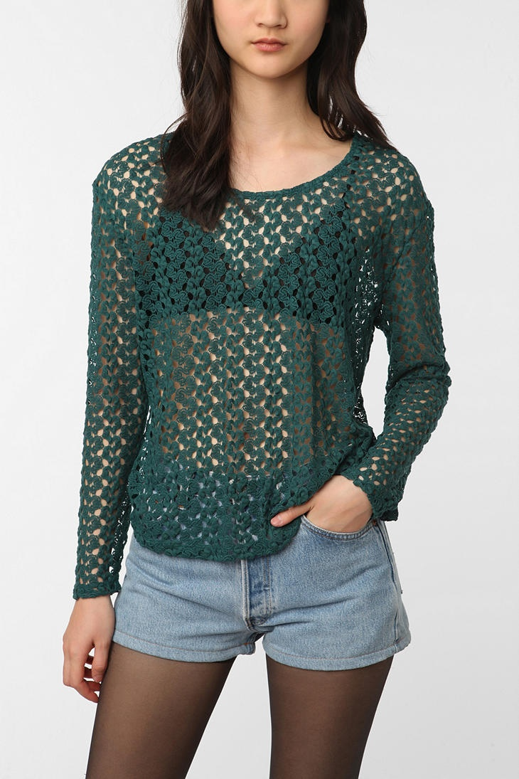 Open-Knit Long Sleeved Top