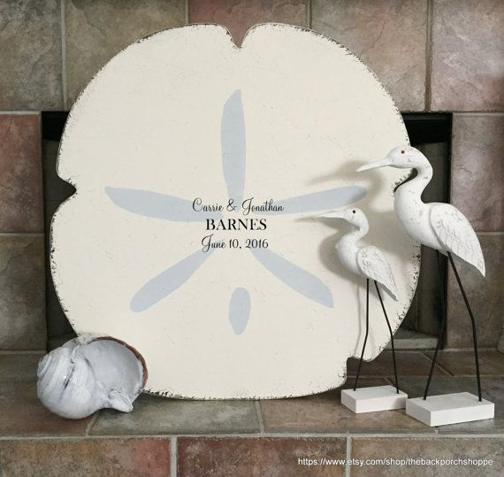 SAND DOLLAR GUESTBOOK / WEDDING GUEST BOOK ALTERNATIVE  Personalize this sign with your names & wedding date! Highlights are in light gray; names / date in black.  Measures 29 high x 29 wide! PROPS NOT INCLUDED.  This is the perfect addition to your beach wedding, luau, shower, or any beach themed event! What a unique Guest Book for signatures at your wedding or reception! What a sweet memory!  ~♥~ ~♥~ ~♥~ PURCHASING & SHIPPING INFORMATION ~♥~ ~♥~ ~♥~ All signs are handcraft...