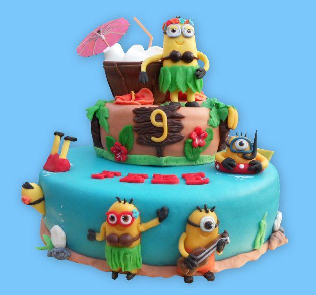 Minions Hawaii cake  -taart