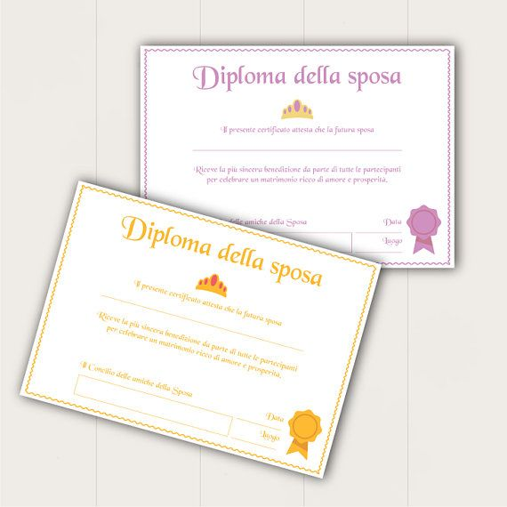 Diploma Per Addio Al Nubilato Matrimonio Ideeaddioalnubilato Addioalnubilato Bridalshowerideas Bridalshow Place Card Holders Place Cards Diy And Crafts