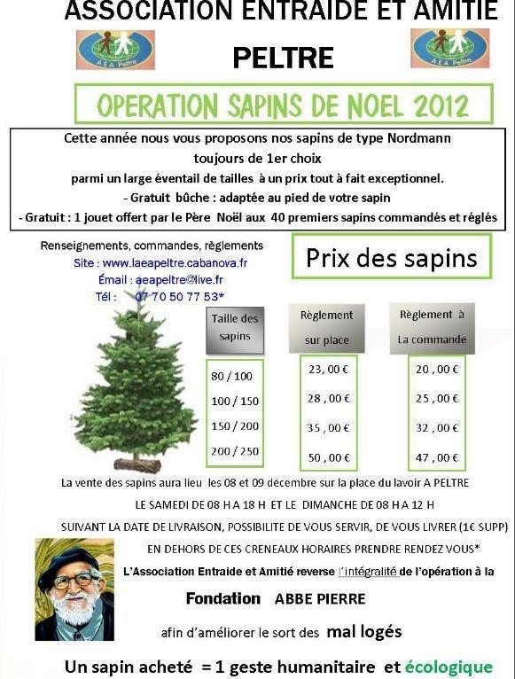 RPL Info.   Vente de Sapins de Noël au profit de l'asso Abbé Pierre