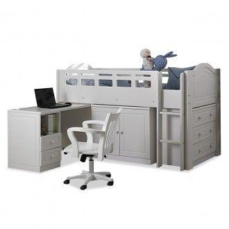 Midi White Short Loft Bed