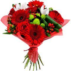 Rojo significa pasión, valor, fuerza, atracción, vigor... Elegante #ramodegerberas con el color rojo predominando. http://www.pensandoenflores.com/ramo-de-gerberas-rojas