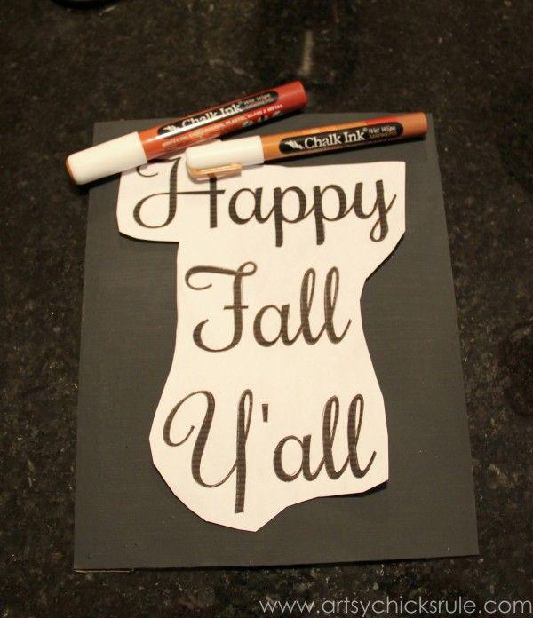"""Happy Fall Y'all"" Chalkboard Art Tutorial - chalk ink pens!!!"