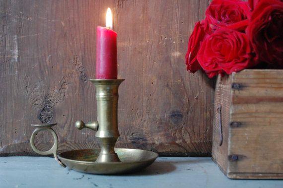 Vintage brass candle holder Metal candlestick by TallinnVintage