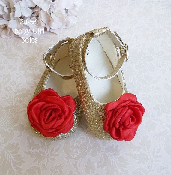 Red and Gold Christmas Outfit  Red and Gold Baby Shoes  Baby
