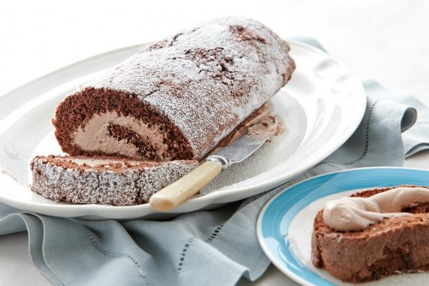 Roll up, roll up... wonderful chocolate swiss roll with chocolate cream filling.