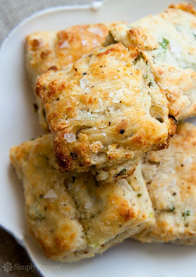 Cheese Biscuits ~ Quick and easy biscuits filled with Parmesan cheese, black pepper, and scallions. An ideal bread for a picnic, dinner party, or for last minute guests. #FourthOfJuly ~ SimplyRecipes.com