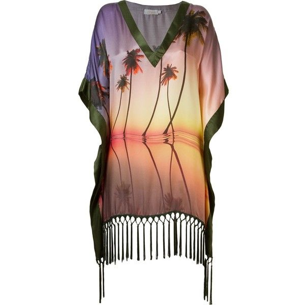 Brigitte palm tree print beach dress ($295) ❤ liked on Polyvore featuring dresses, multi color dress, pink silk dress, multi print dress, pink purple dress and multi-color dresses