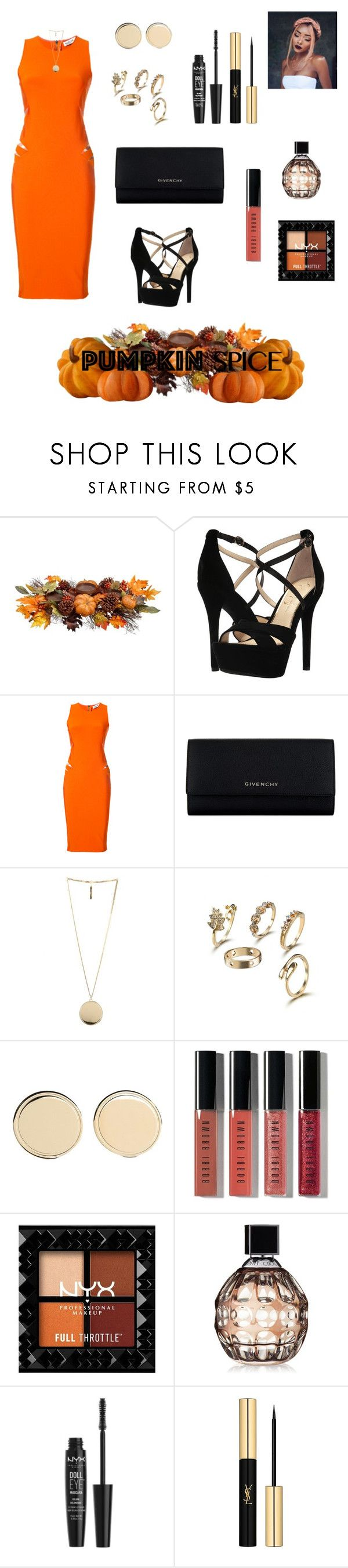 """Pumpkin Spice!"" by morganmmm ❤ liked on Polyvore featuring Allstate Floral, Jessica Simpson, Thierry Mugler, Givenchy, Bobbi Brown Cosmetics, Jimmy Choo, NYX, Yves Saint Laurent and pumpkinspice"
