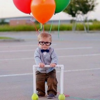 Dressed as the old man from Up! Great costume idea!