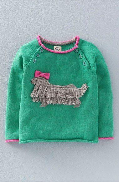 Mini Boden 'Fun Pet' Applique Sweater (Toddler Girls, Little Girls & Big Girls)