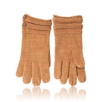 Teplé rukavice ve velbloudím odstínu se zlatavými nitkami a knoflíčkovými detaily.
