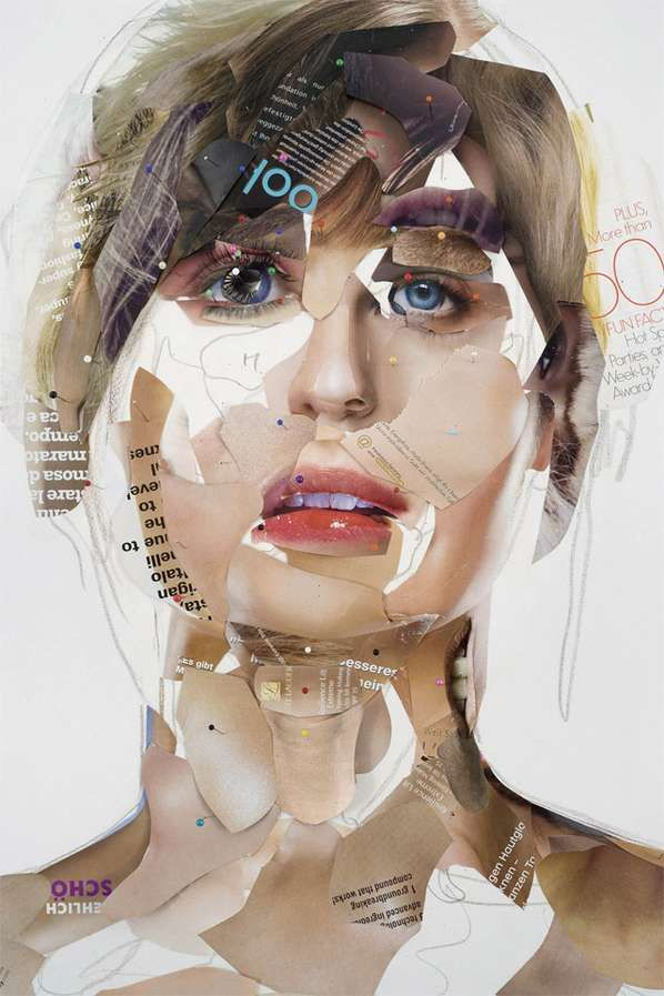 Magazine art portraits | Austrian artist Gabi Trinkaus makes image composites using mixed media and collages made from magazine tear-outs ◈