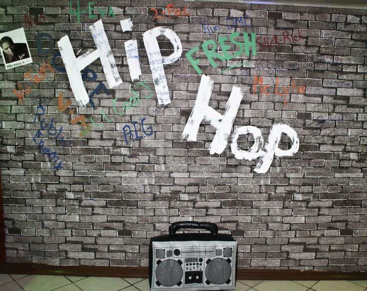 The back drop and inflatable boom box from my Hubby's old school hip hop party.
