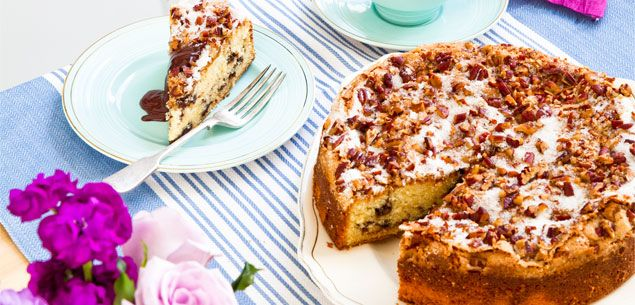 Sour Cream Chocolate Swirl Cake - Warm cake and chocolate sauce – what a great combination!