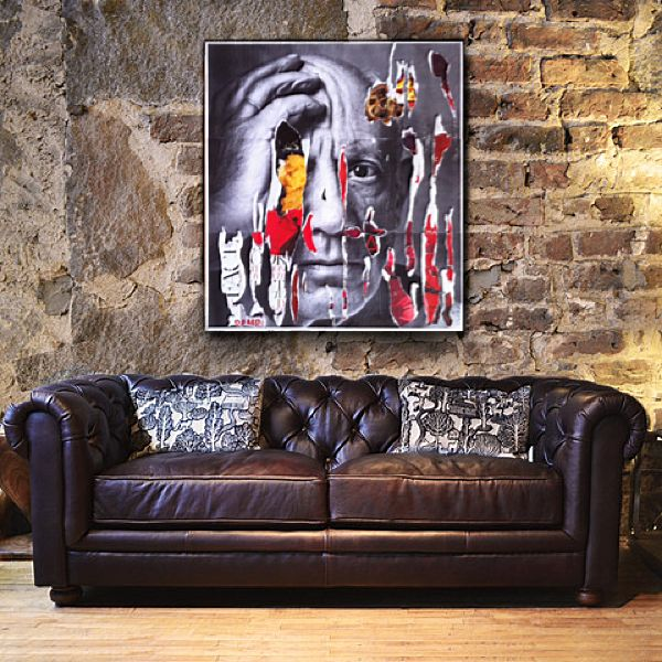 Slasky   Picasso   90x80 #decollage #artwork #art #slasky #interiordesign #picasso