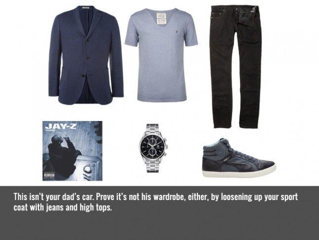 "2012 AUDI A8:    ALLSAINTS Scoop T-Shirt $35   BOGLIOLI Blazer $1,350   DRKSHDW BY RICK OWENS Torrence Jeans $333     TAG HEUERCarrera 1887 Watch$3,495 ALEXANDER MCQUEEN Street Climb Sneaker $225 {LOOOOVE!!!}   JAY-Z ""IZZO (H.O.V.A.)"" $1.29"