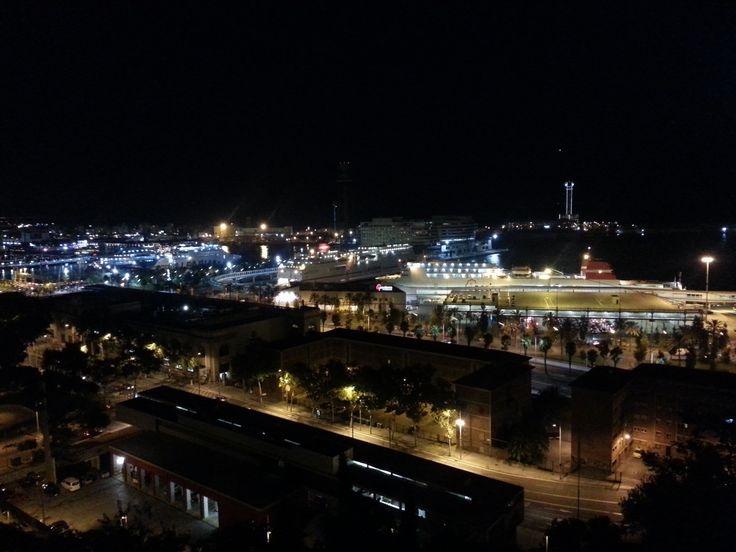 August 2013. The port at night from Miramar. Barcelona, Catalonia