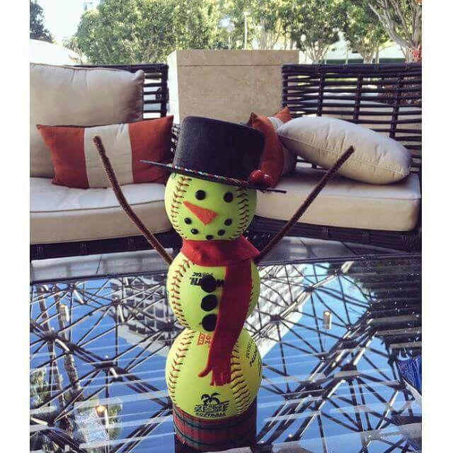 Cute softball snowman