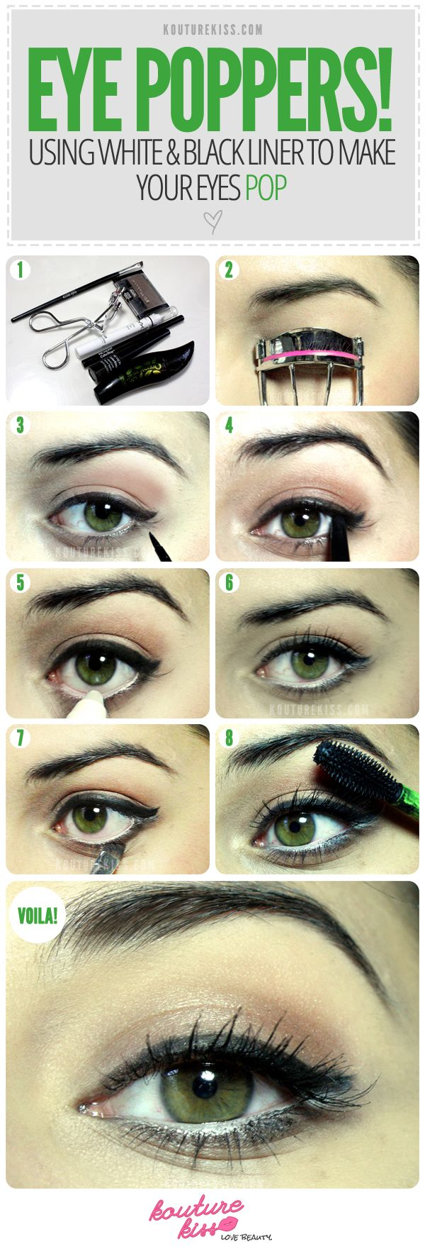 Who doesn't want bigger looking eyes? Unfortunately a lot of women don't apply eyeliner correctly, making their eyes appear smaller than they really are. The key is to make your top lash line appear thicker and the whites of your eyes seem larger. The purpose is to open up your beautiful eyes, not enclose them.