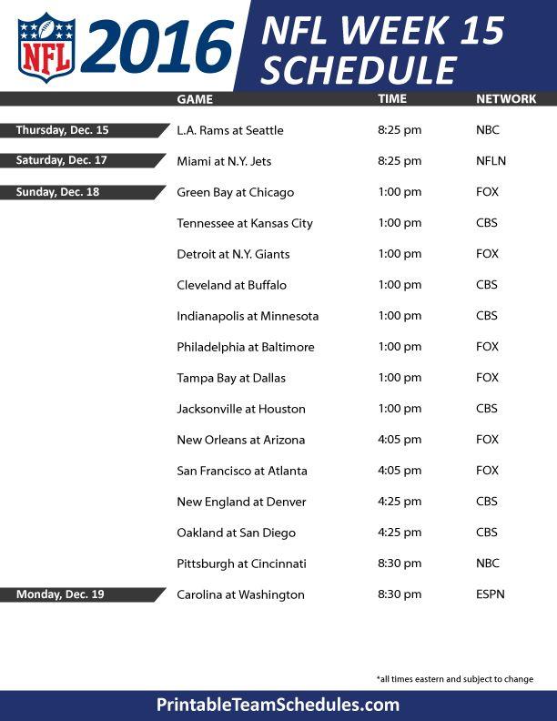 NFL Week 15 Schedule