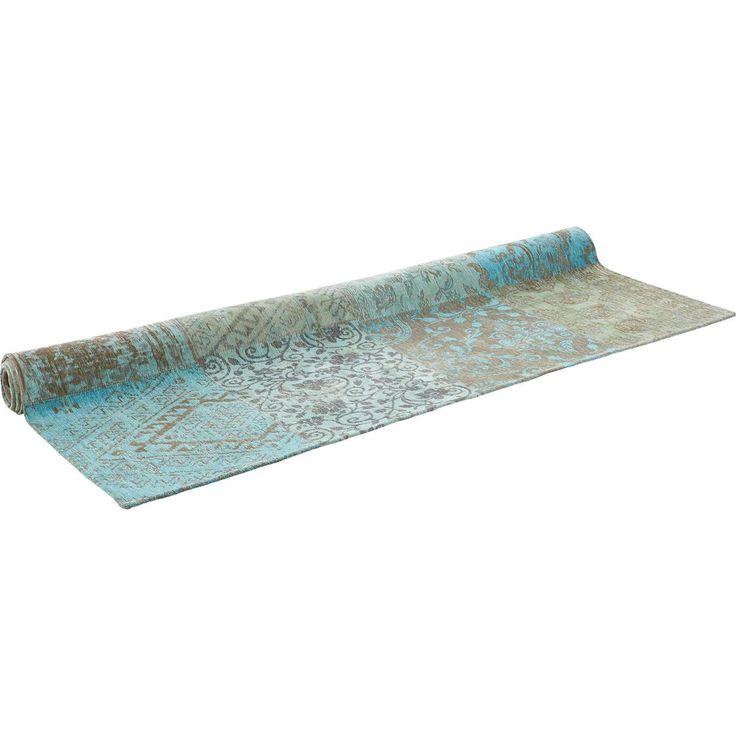 Stijlvol katoenen vloerkleed Vincentia met turquoise tinten. Afmeting: 170 x 240 cm. #kwantum_woonahaves_vloerkleed1 #woonahaves #kwantum #kwantum_nederland #daarwoonjebetervan