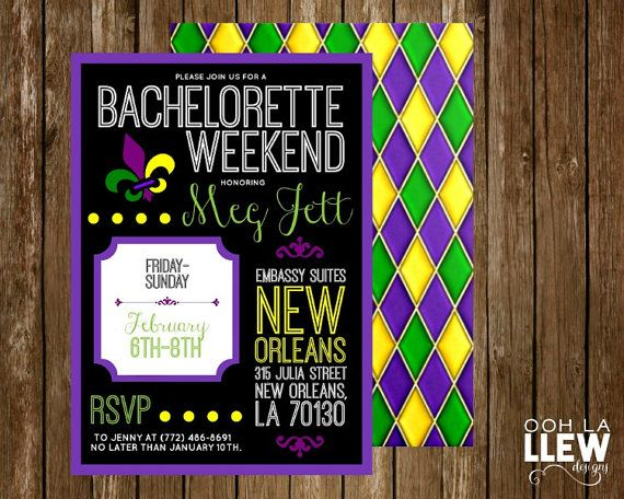 181 best invitation inspiration images on pinterest invitations new orleans mardi gras bachelorette party invitation by oohlallew stopboris Choice Image