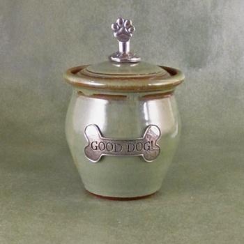 Hand Thrown and Glazed Small Dog Treat Stoneware Jar in Pistachio $49