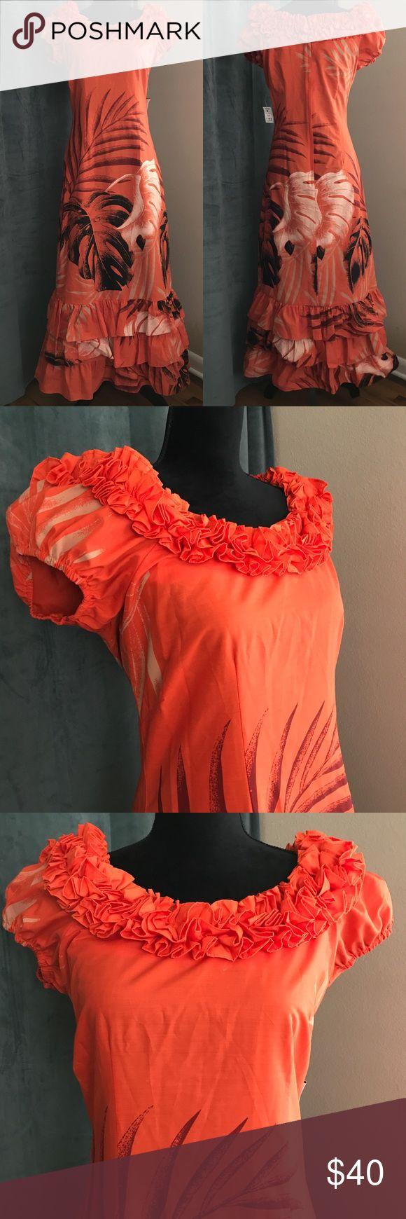 """NOS Vintage Orange Ruffled Hawaiian MuuMuu M 8/10 Stunning NOS vintage MuuMuu loaded with ruffles. Likely from the 70s or 80s. Tagged size 9/10. Bust 38""""-40"""". Waist up to 34"""". Length (from shoulder) 56"""". Cotton and polyester blend. Made by T & L MuuMuu Factory in Hawaii. Vintage Dresses Maxi"""