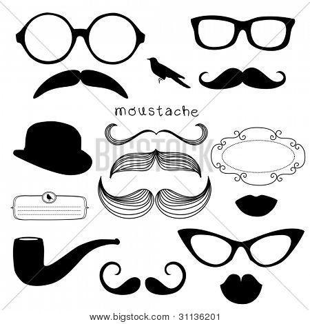 Conjunto de fiesta retro - labios, bigotes, gafas de sol