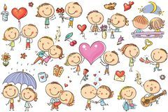 Pares felizes dos desenhos animados no amor, grupo do dia do ` s do Valentim Imagens de Stock