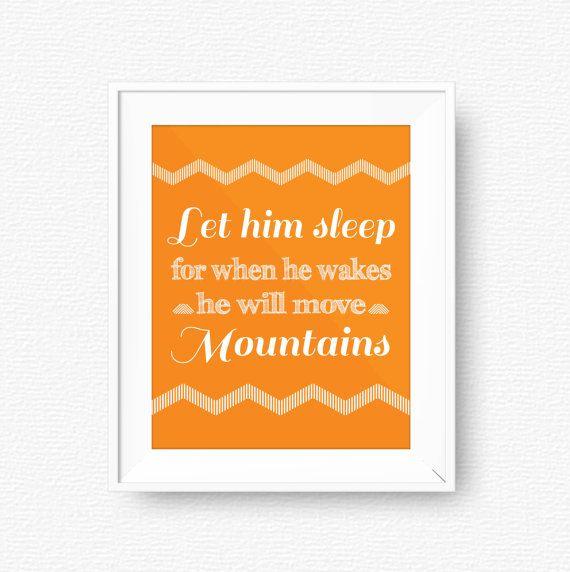 Let him sleep Orange Nursery printable orange by PureJoyPrintables