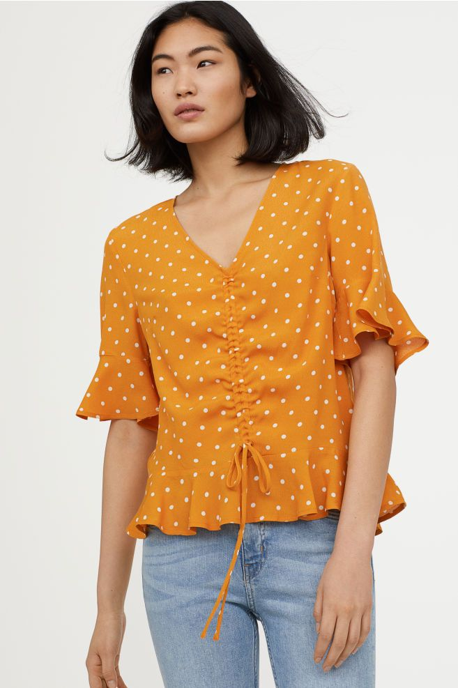 e48493c6a9 Drawstring Blouse in 2019 | Style Loves | Blouse, Blouse models ...