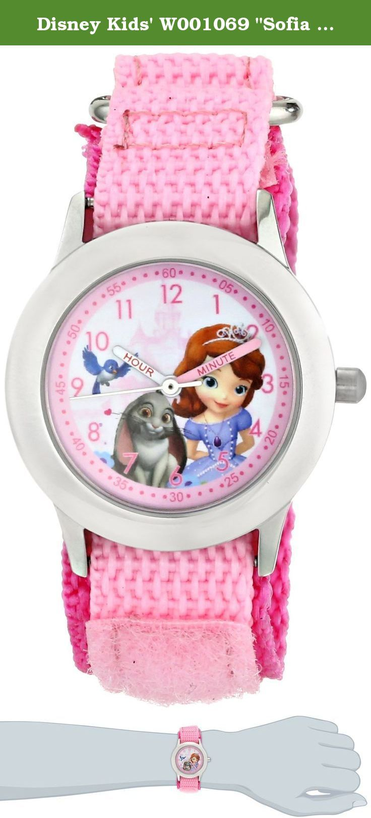 """Disney Kids' W001069 """"Sofia Time Teacher"""" Stainless Steel Watch with Pink Nylon Band. Safety Warnings: CHOKING HAZARD - Toy contains a small ball. Not for children under 3 yrs. Disney Kid's Sofia Stainless Steel Watch, 32mm stainless steel case, 16mm Pink VELCRO® brand closure Strap, dial features Sofia. Mineral glass crystal, stainless steel back, Japan quartz movement, water resistance to 100 feet. Sofia the First toys and games transport your child to the imaginative world of royalty...."""