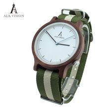 Wood watch ALK Vision Canvas strap Unisex wristwatch women mens top brand luxury watches Ladies clock(China (Mainland))