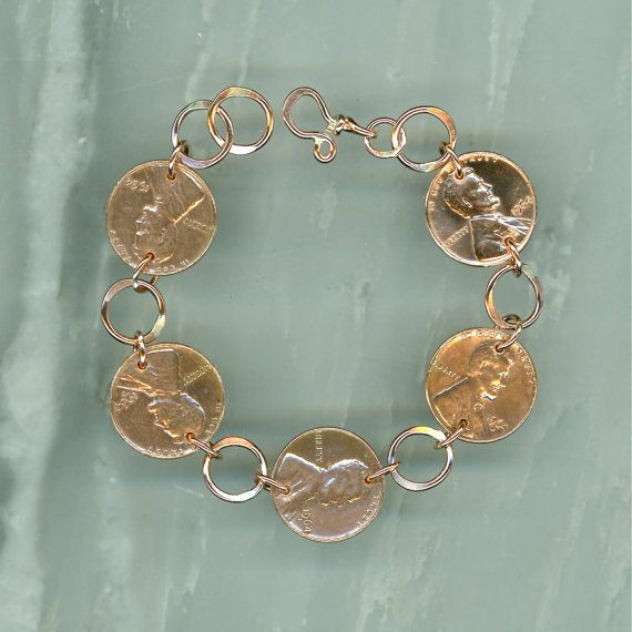 1964 Penny Bracelet 50th Anniversary Gift Coin Jewelry