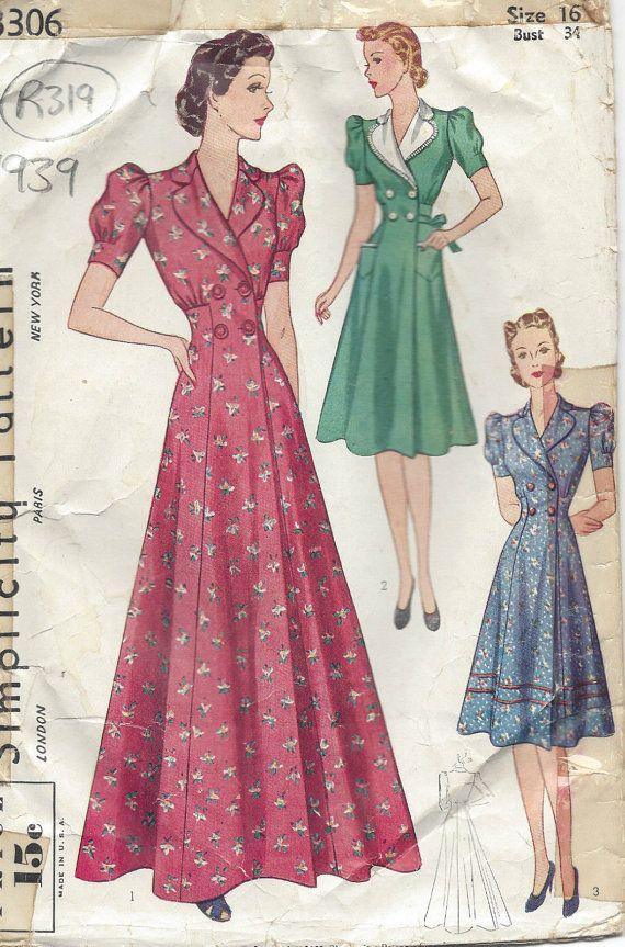 """1939 vintage naaien patroon B34 """"HOUSECOAT & kleding (R319) eenvoud 3306"""