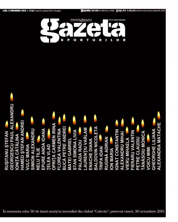 In memory of dead young Romanians in Bucharest's Club Colectiv cought by fire on Friday night, 30 oct.2015
