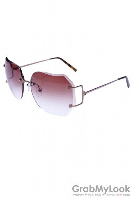 GrabMyLook Square Oversized Frameless Sunglasses Eyewear