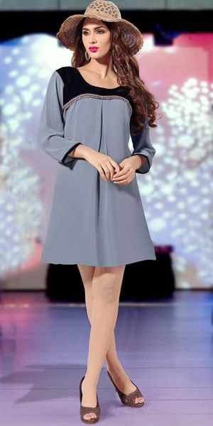Elegant Grey Velvet and Lace Work Georgette Kurti.