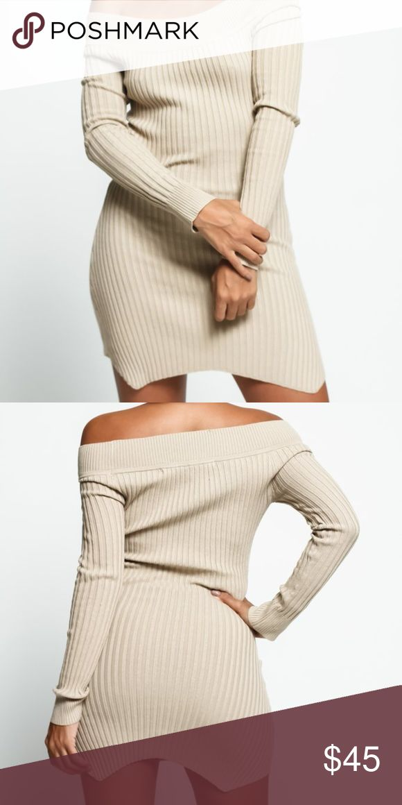 NWT- Off the Shoulder Long Sleeve Sweater Dress This sweater is ready for any night out in town! Beautiful Cream neutral color. Soft, stretchy cotton for the best feeling Long sleeves with a boat neck line Curved hemline Tight fit Stretch Material Cotton blend Machine washable Sweaters